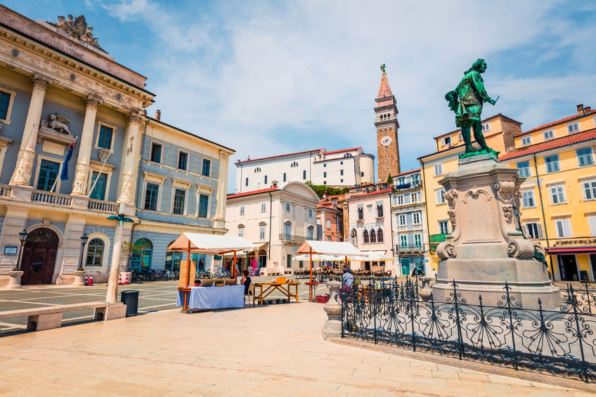 Bright summer view of Tartini Square in old town Piran. Splendid spring morning of Slovenia, Europe. Traveling concept background. Magnificent Mediterranean landscape.