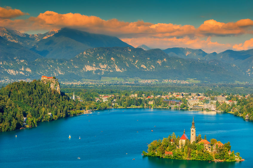 Lake Bled with St Marys church on the small island,Bled,Slovenia,Europe